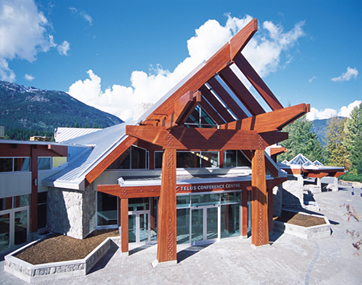 Exterior of the Telus conference center in Whistler